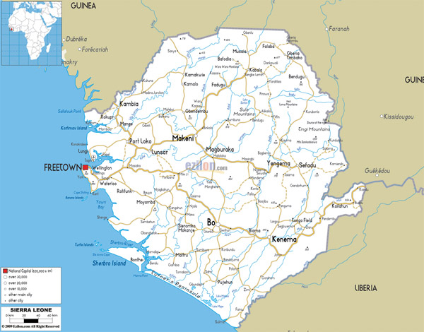 Large detailed road map of Sierra Leone with all cities and airports.