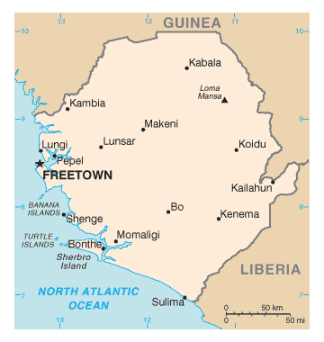 Map of Sierra Leone. Sierra Leone map.
