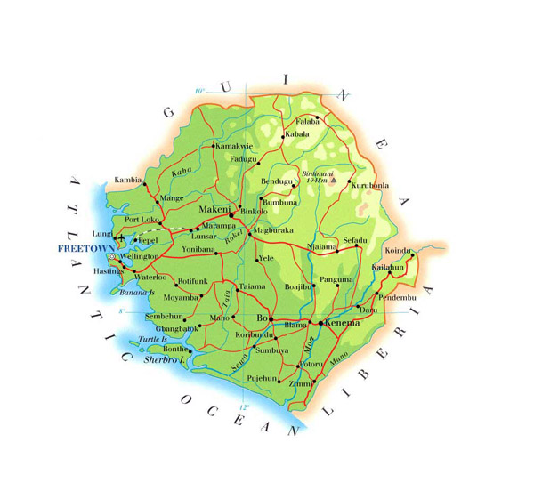 Physical and road map of Sierra Leone. Sierra Leone physical and road map.