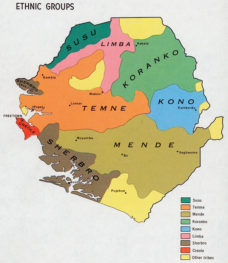Sierra Leone detailed ethnic map of 1969 Detailed ethnic map of