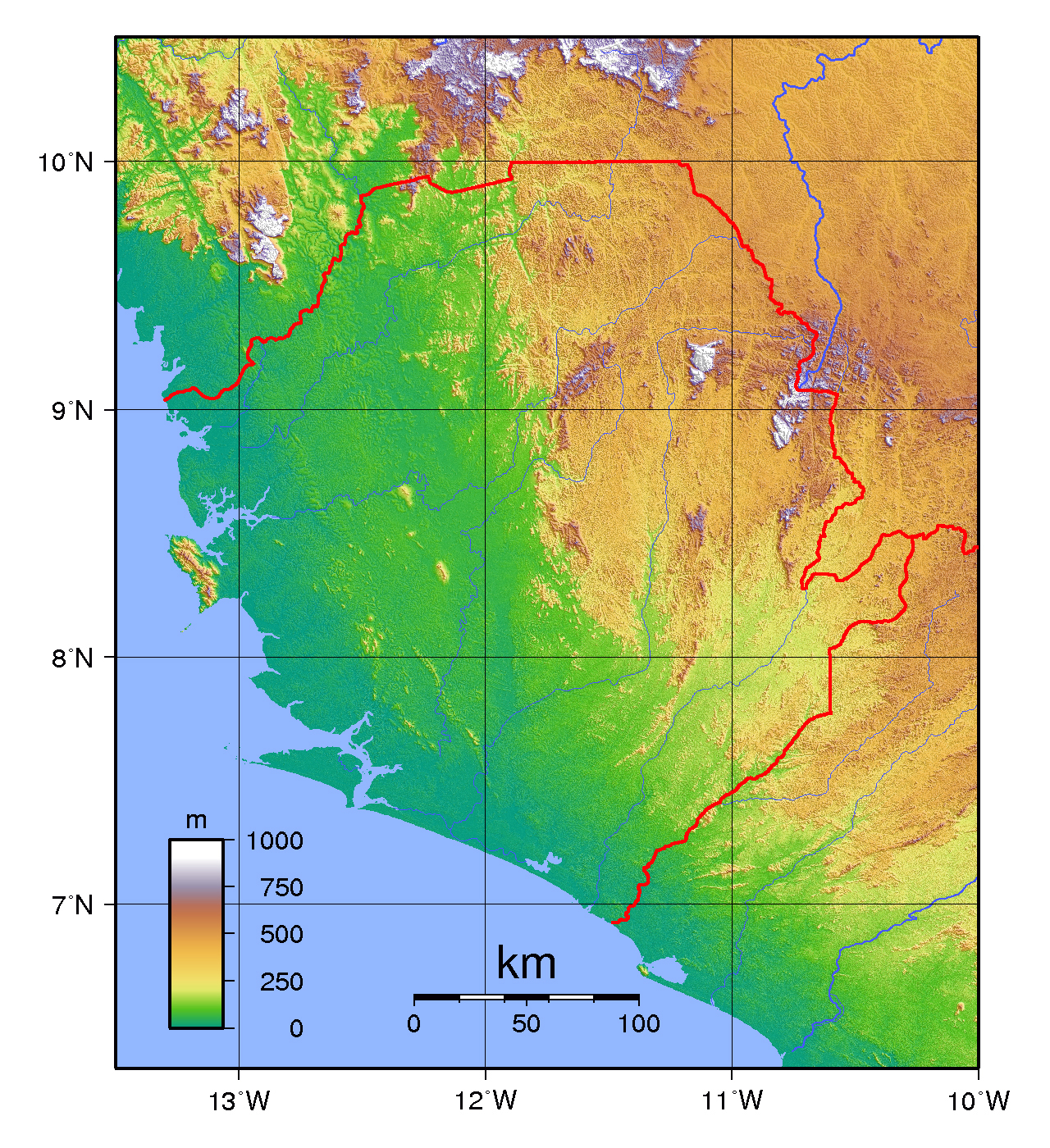 Topographical map of Sierra Leone Sierra Leone topographical map