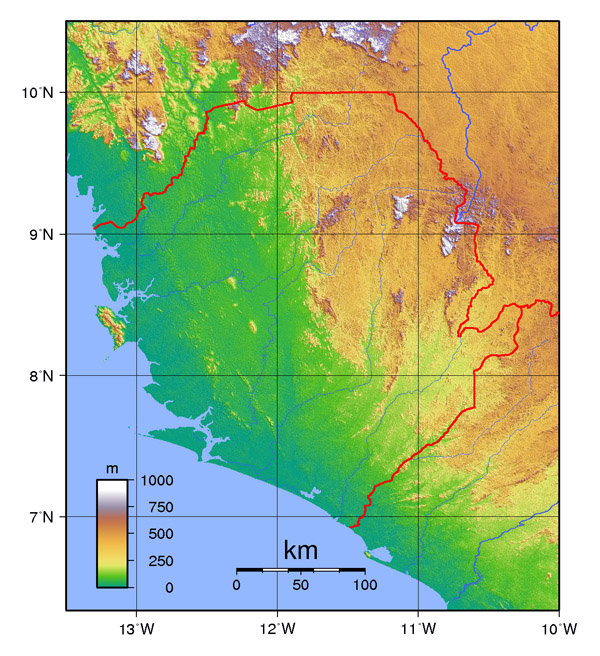 Topographical map of Sierra Leone. Sierra Leone topographical map.