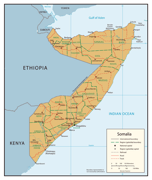 Administrative map of Somalia. Somalia administrative map.