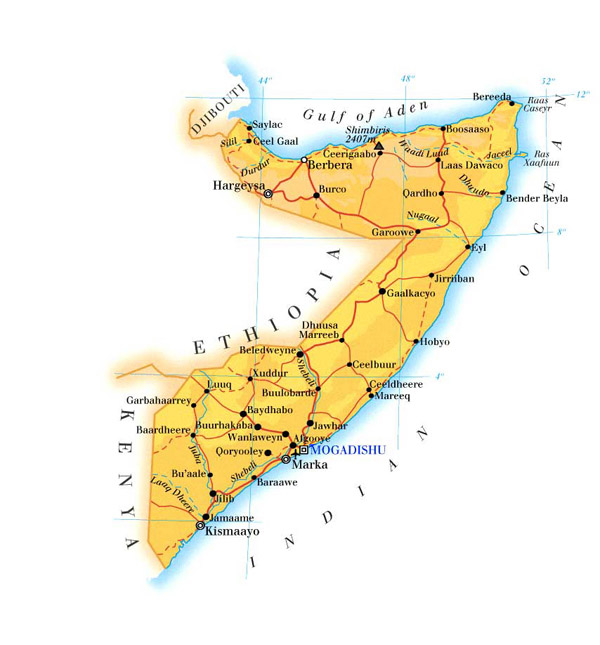 Detailed physical and road map of Somalia. Somalia detailed physical and road map.