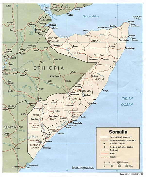 Detailed political and administrative map of Somalia.
