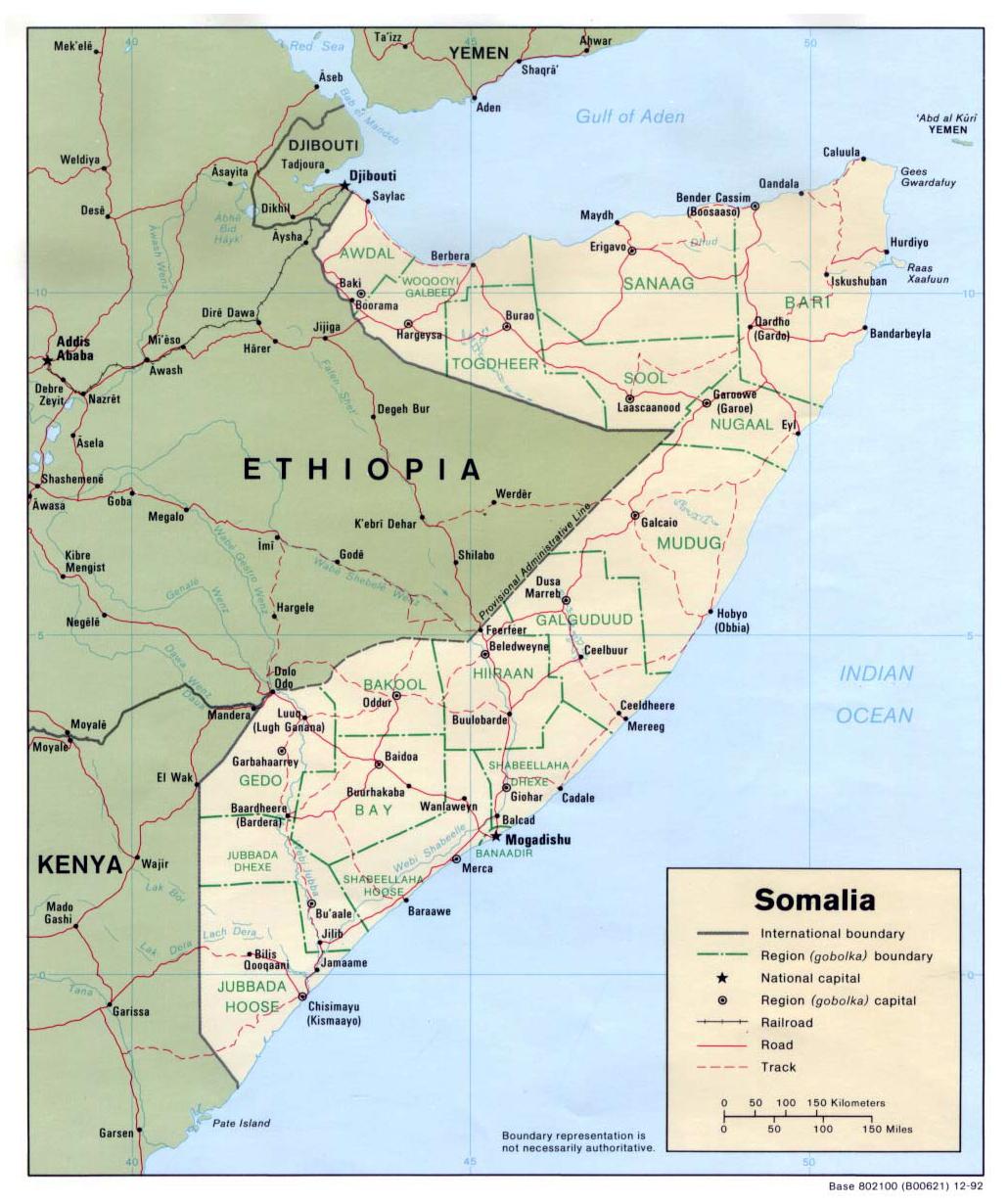 Detailed political map of Somalia. Somalia detailed political map ...