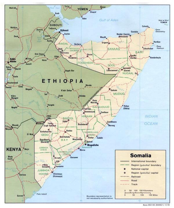 Detailed political map of Somalia. Somalia detailed political map.