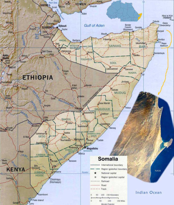 Detailed political map of Somalia with satellite image and relief.