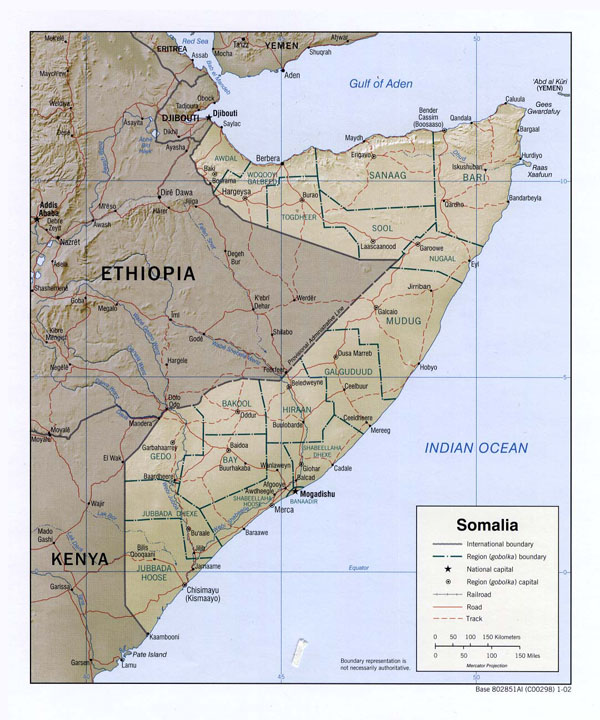 Detailed relief and administrative map of Somalia.