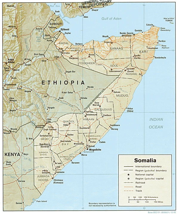 Detailed relief and political map of Somalia.