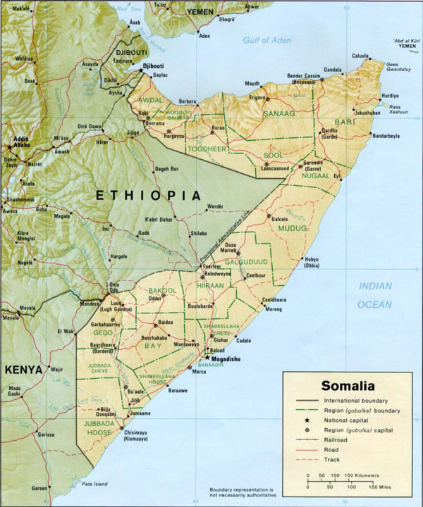 Detailed relief map of Somalia. Somalia detailed relief map.