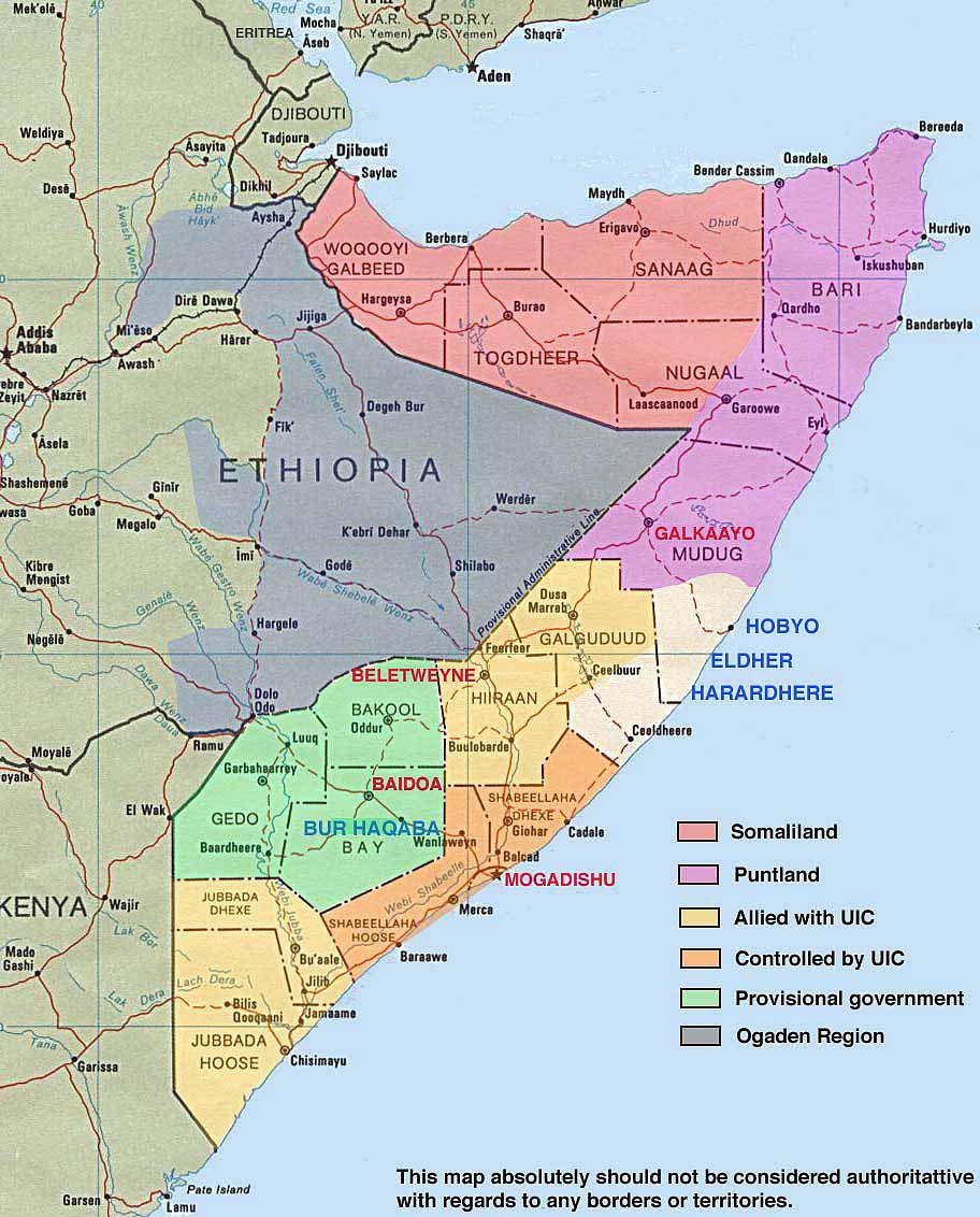 Large administrative map of Somalia. Somalia large ...