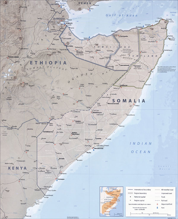 Large detailed political map of Somalia with all roads, cities and airports.