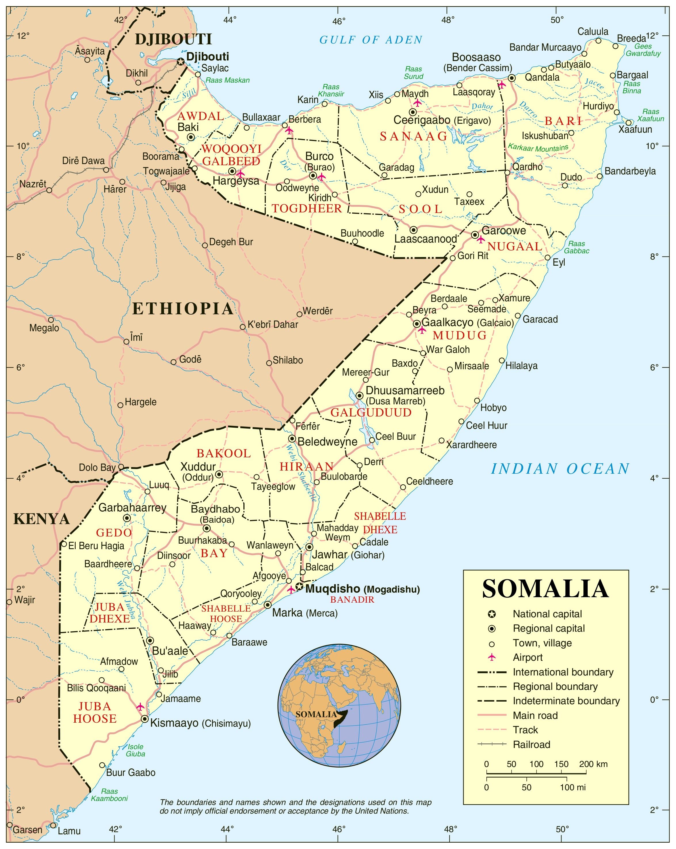 Political Map Of Somalia Somalia Political Map Vidiani Com Maps