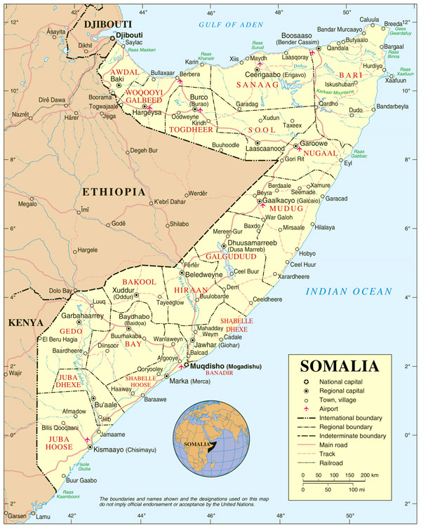 Political map of Somalia. Somalia political map.