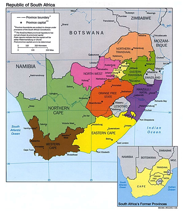 Administrative map of South Africa. South Africa administrative map.