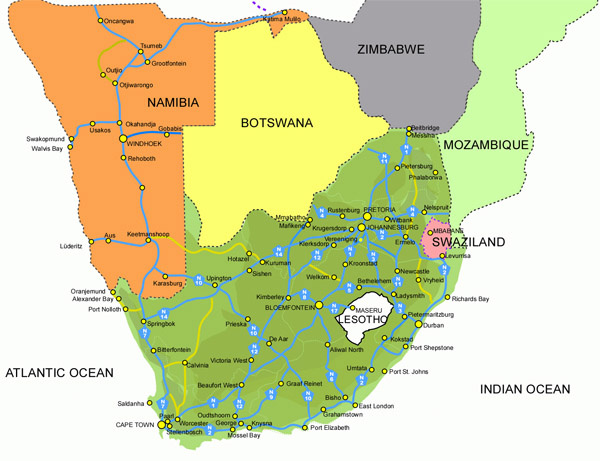 Detailed highways map of South Africa. South Africa detailed highways map.