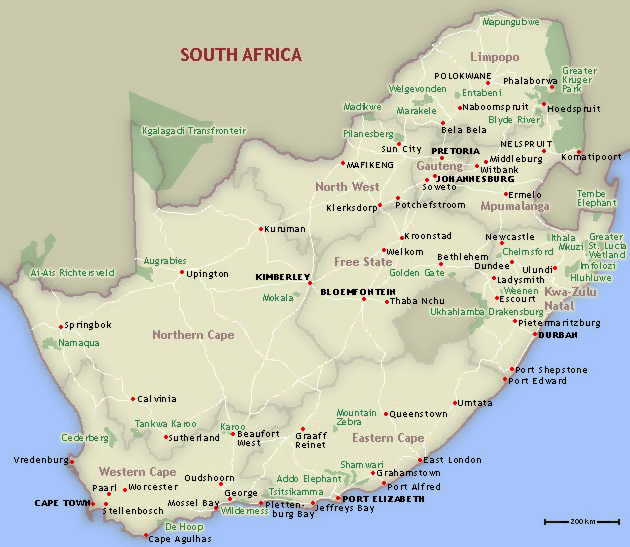 Detailed national parks map of South Africa. South Africa detailed national parks map.