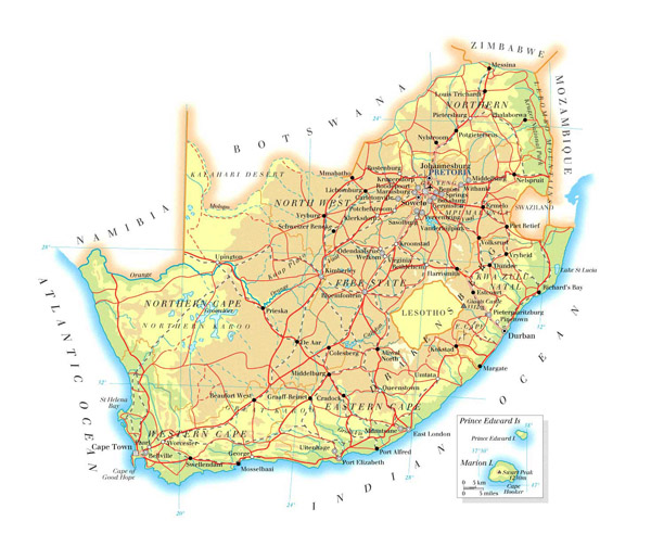 Detailed physical and road map of South Africa.