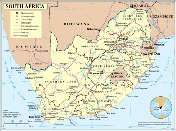 Detailed political map of South Africa with cities, airports, roads and railroads.