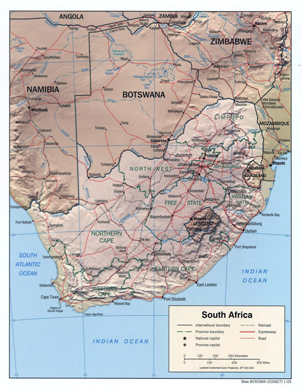 Detailed political map of South Africa with relief, roads and major cities - 2005.