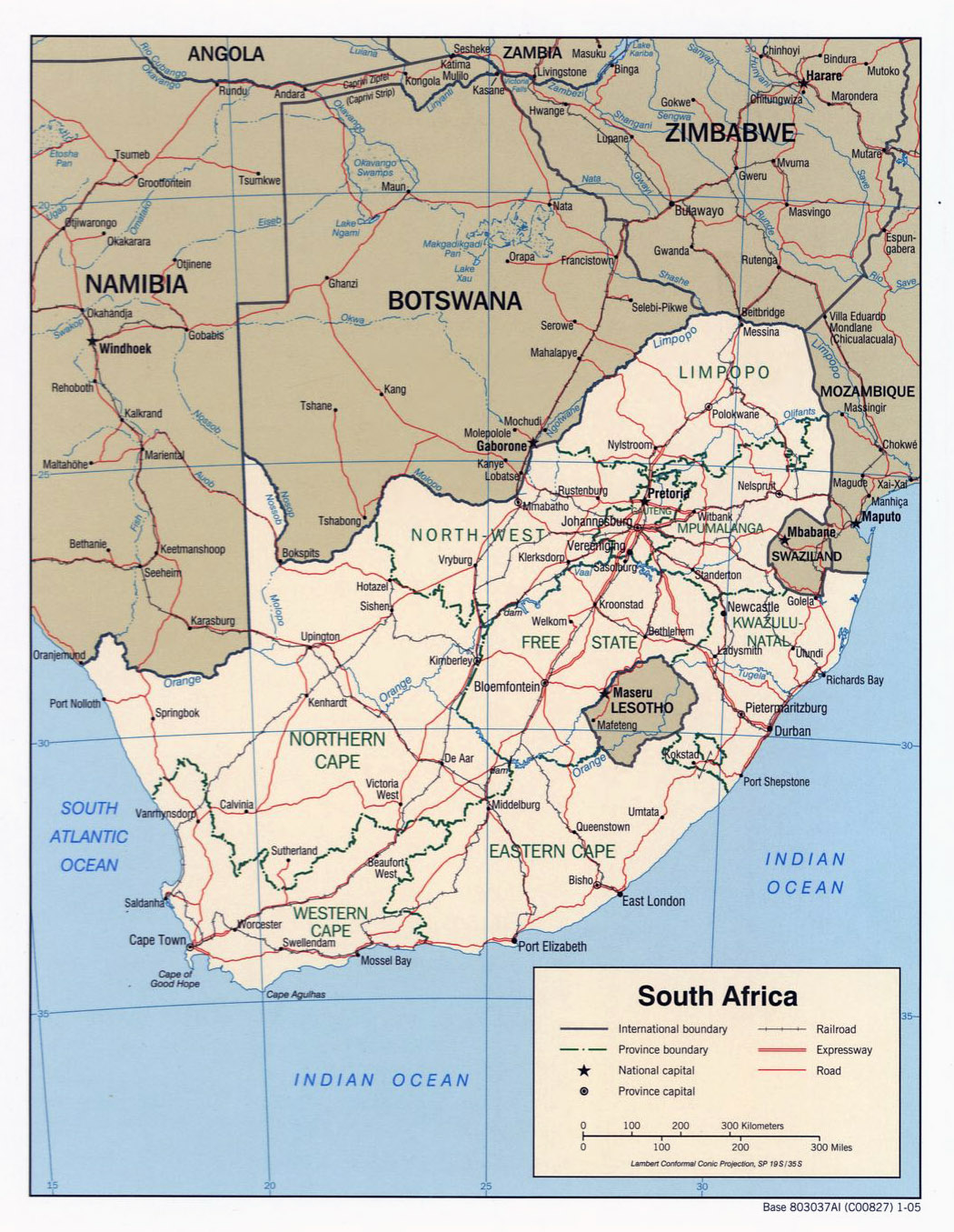 Detailed political map of South Africa with roads and major cities 2005 V