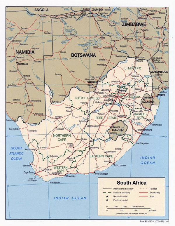 Detailed political map of South Africa with roads and major cities - 2005.