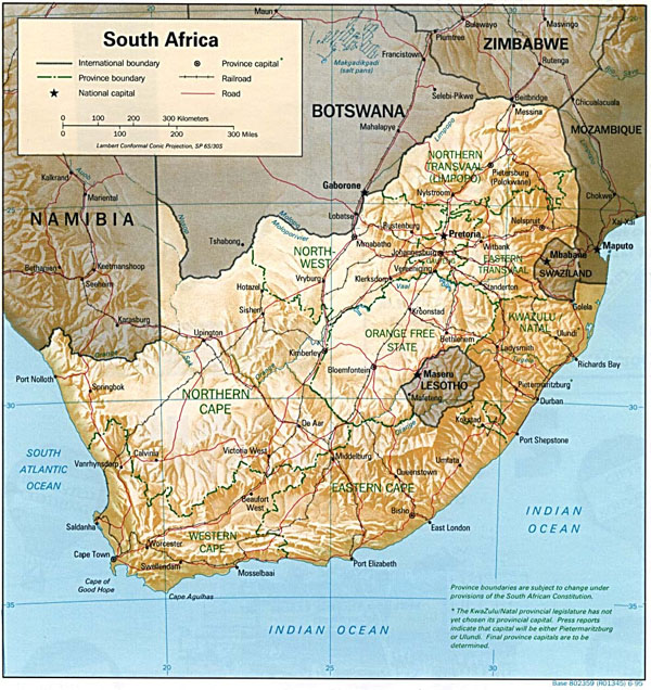 Detailed relief and political map of South Africa. South Africa detailed relief and political map.
