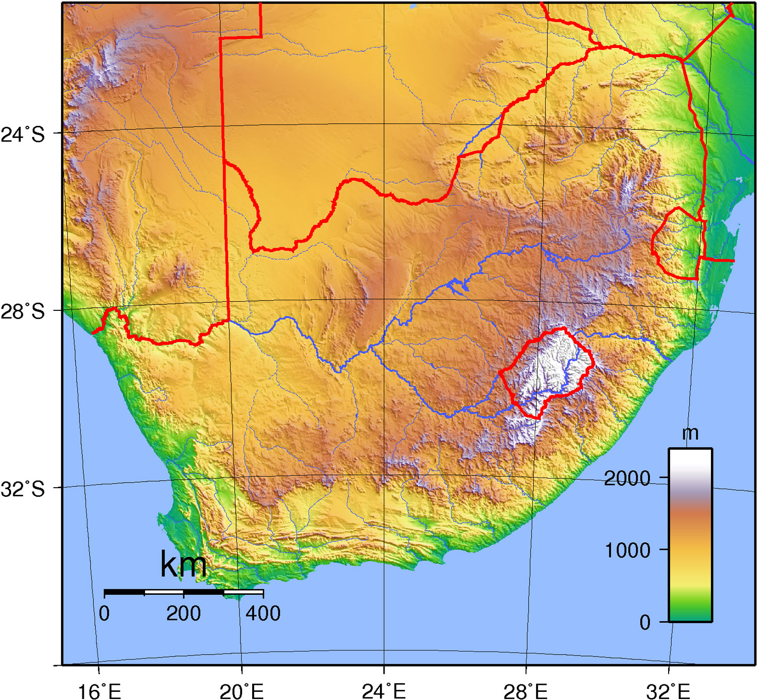 Detailed topographical map of South Africa. South Africa detailed