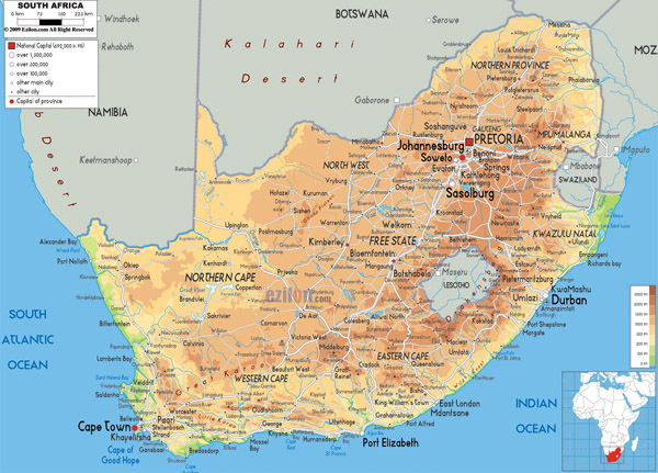 Large detailed physical map of South Africa with all cities, roads and airports.