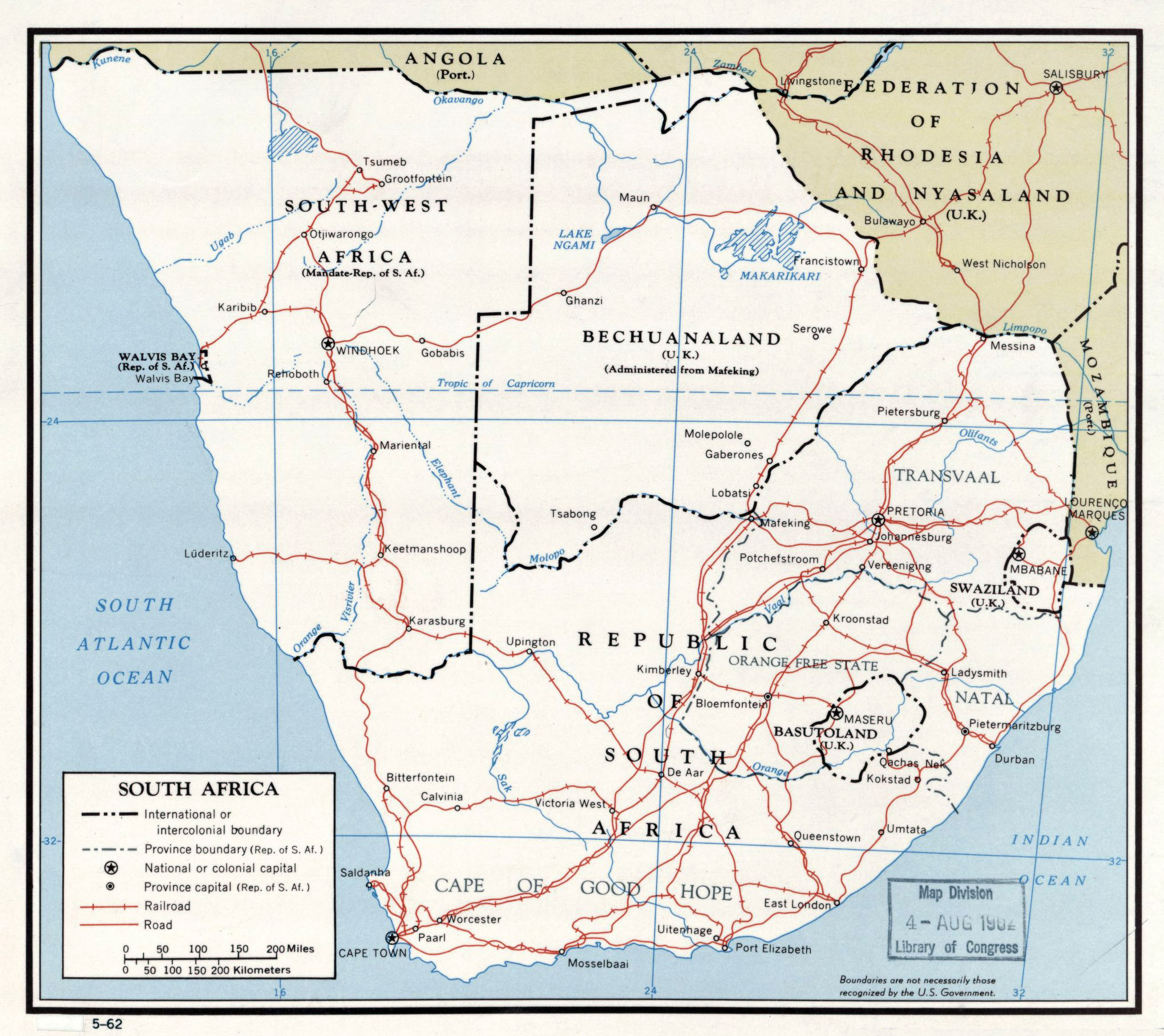 Large detailed political map of South Africa with roads and major
