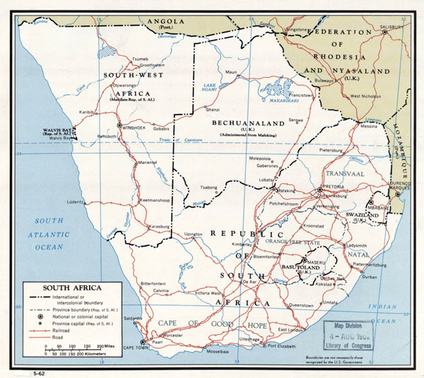 Large detailed political map of South Africa with roads and major cities - 1962.