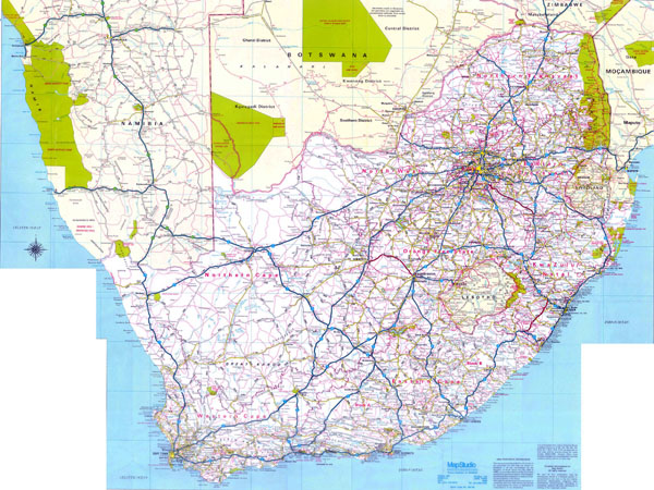 Large detailed road map of South Africa. South Africa large detailed road map.