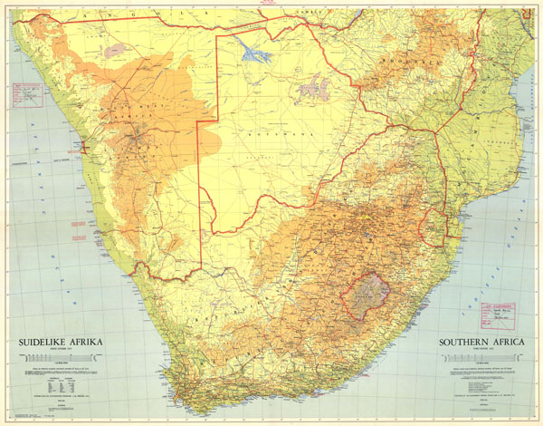 Large detailed topographical map of South Africa. South Africa large detailed topographical map.