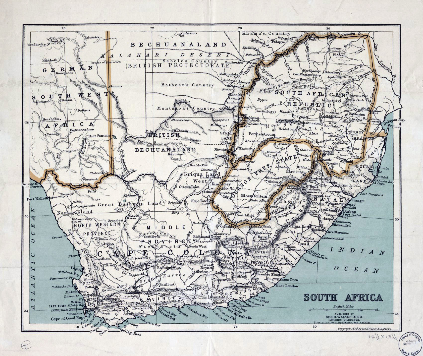 Large old political map of South Africa with relief – 1899
