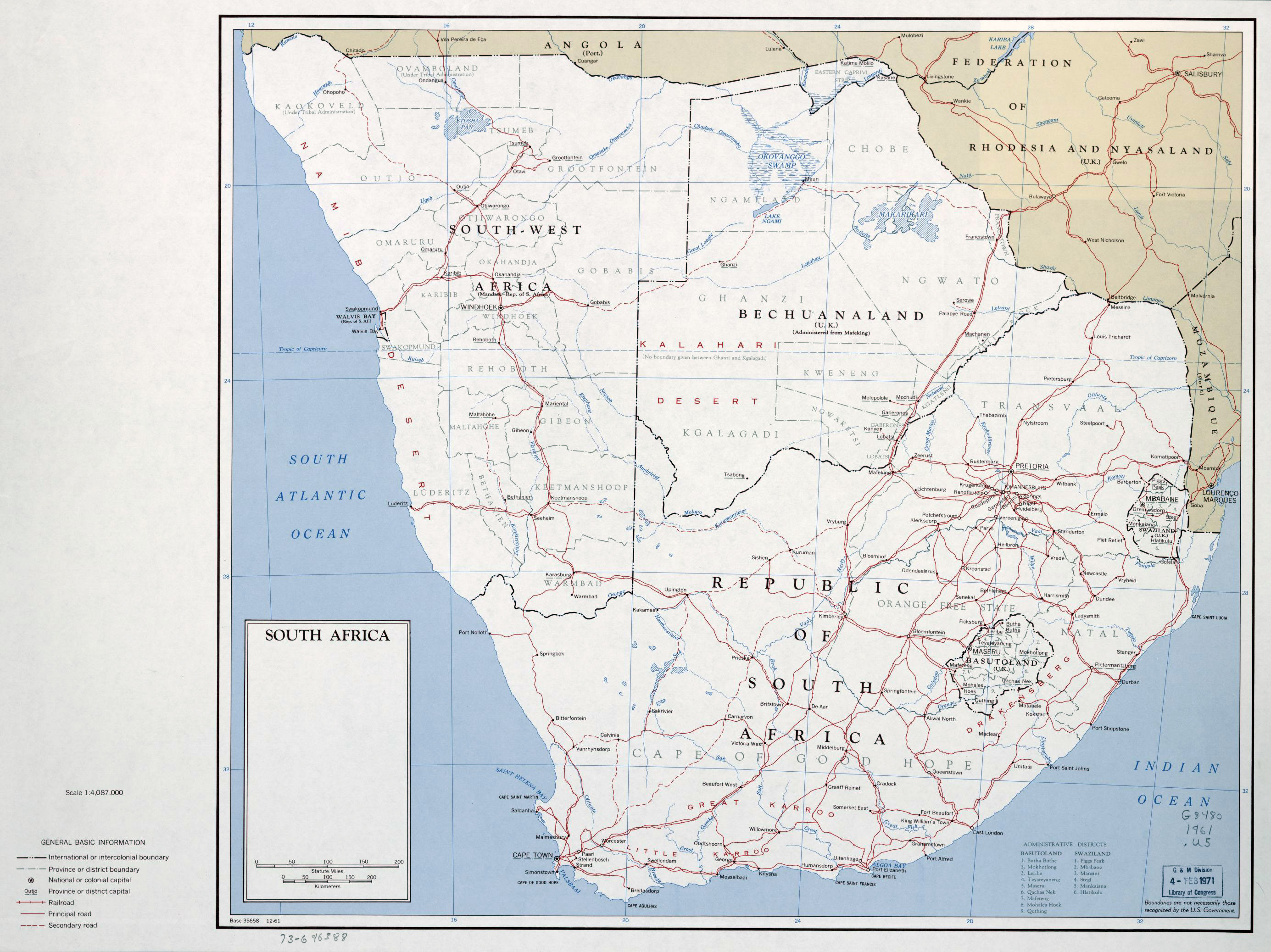 Large political map of South Africa – 1961 | Vidiani.| Maps of