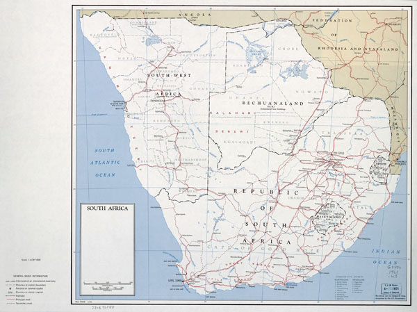 Large political map of South Africa - 1961.