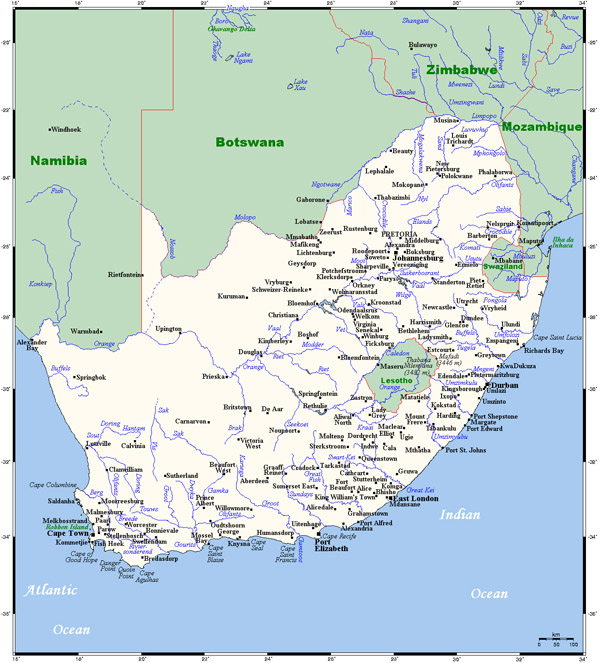 Map of South Africa with all cities. South Africa map with all cities.