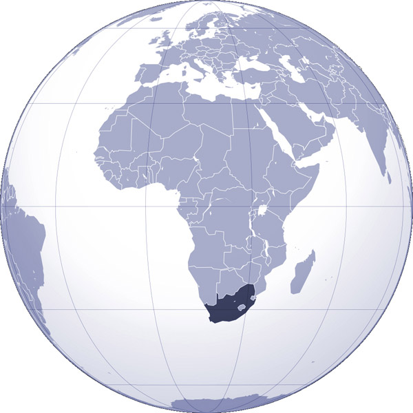Where is South Africa located detailed map? Map of South Africa location.