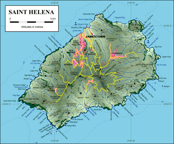 Detailed topographical map of St. Helena. St. Helena detailed topographical map.