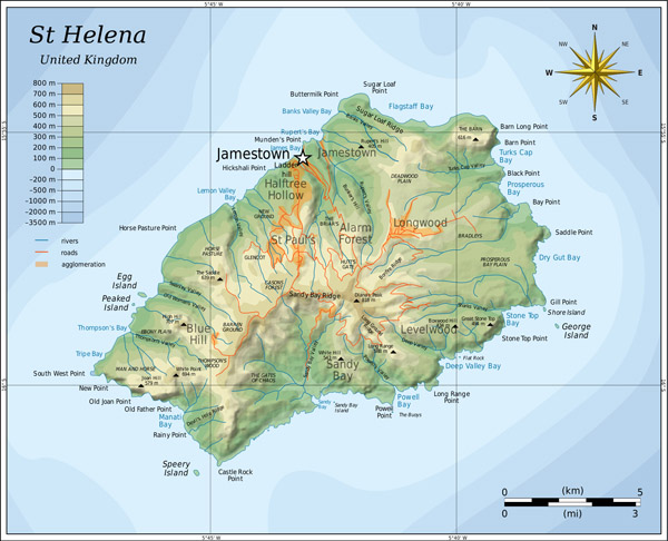 Large detailed topographical map of St. Helena. St. Helena large detailed topographical map.