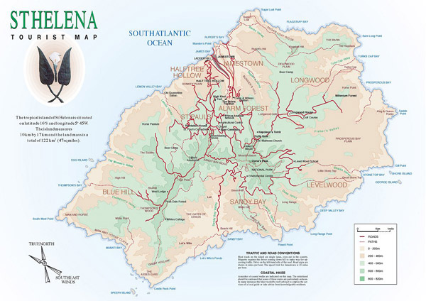 St. Helena detailed tourist map. Detailed tourist map of St. Helena.