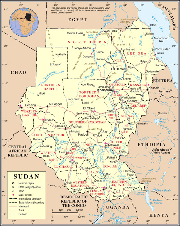 Detailed administrative map of Sudan with all cities, roads and airports.
