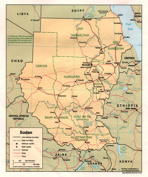 Detailed political and administrative map of Sudan.