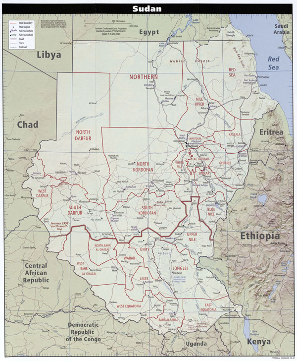 Large detailed political and administrative map of Sudan with all roads and cities.