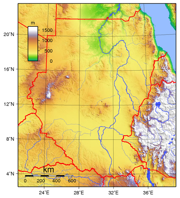 Physical map of Sudan. Sudan physical map.