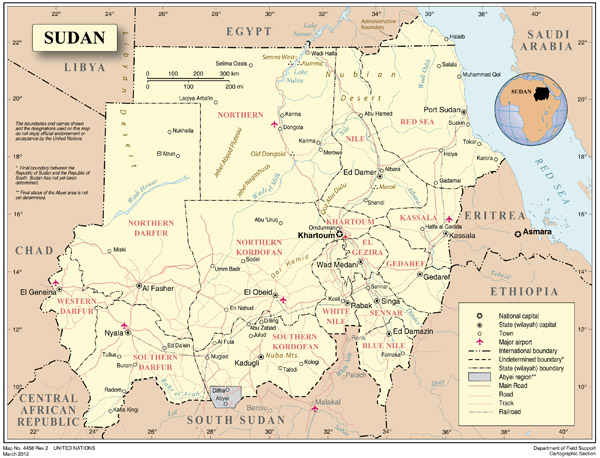 Sudan detailed political map with cities, roads and rivers.