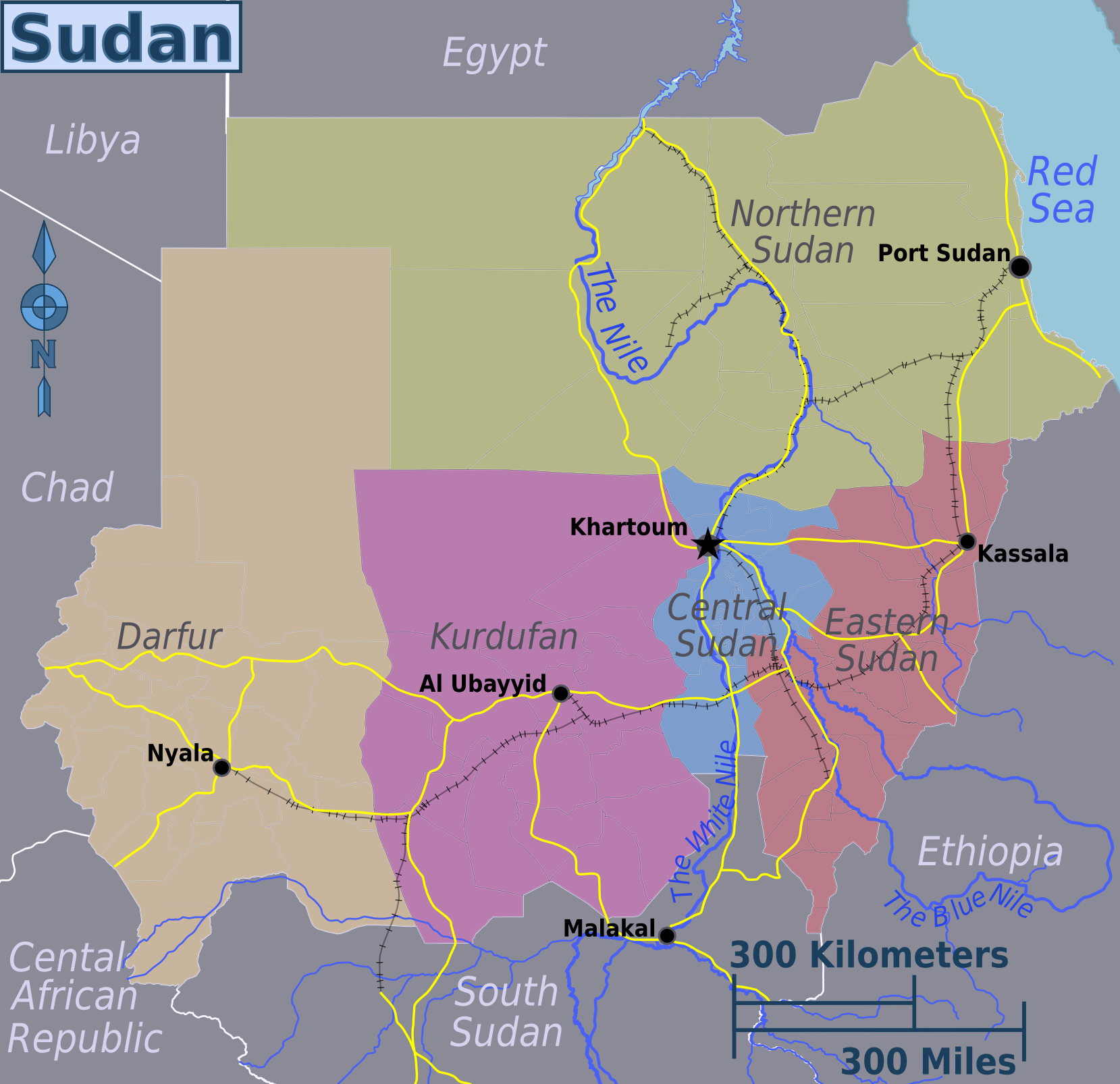 Sudan detailed provinces map Detailed provinces map of Sudan