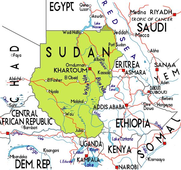 Sudan small political map Small political map of Sudan Vidiani