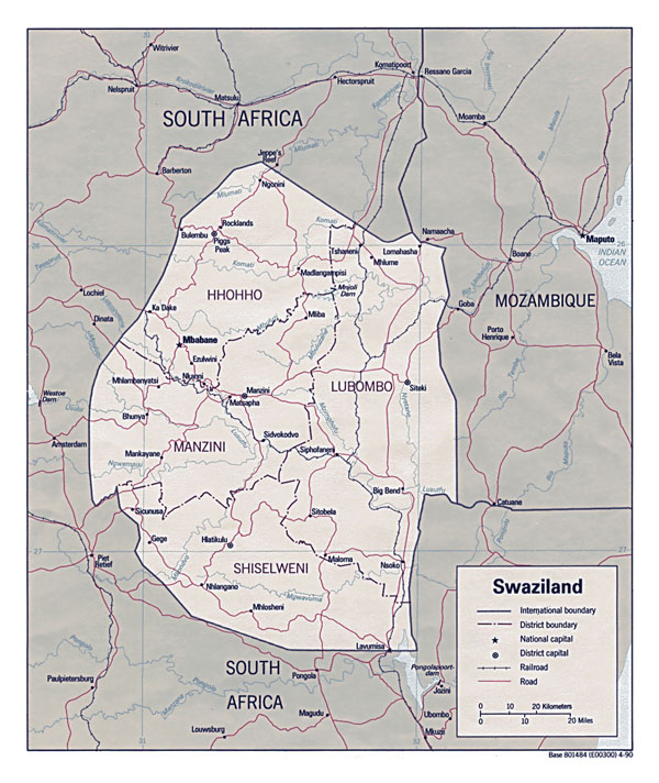 Administrative map of Swaziland with cities. Swaziland administrative map with cities.